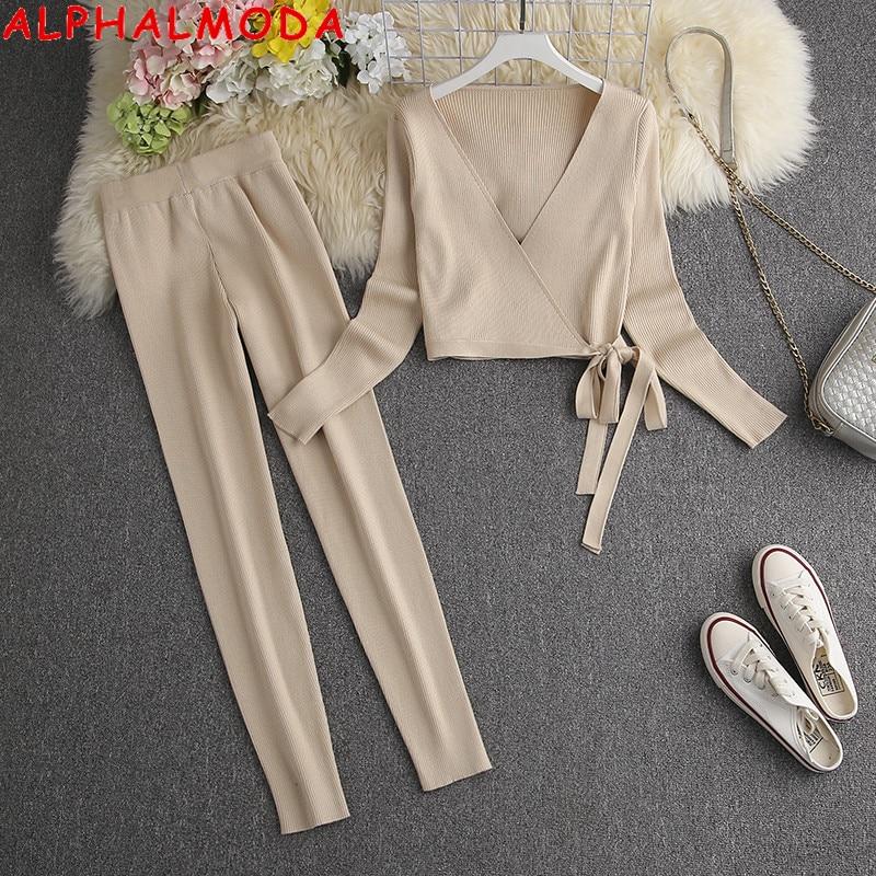 ALPHALMODA 2021 Spring New V-neck Binding Sashes Sweater Top + Leggings Women 2pcs Fashion Suit Slim Ladies Comfy Lounge Set