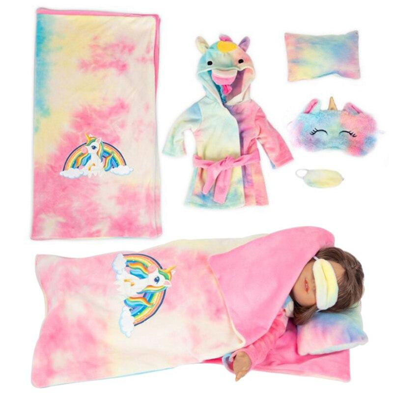 7 шт./компл. Новейшие милые единороги куклы одежда пижамы спальные мешки подушки маски для глаз для 18 дюймов 43 см новые детские куклы одежда