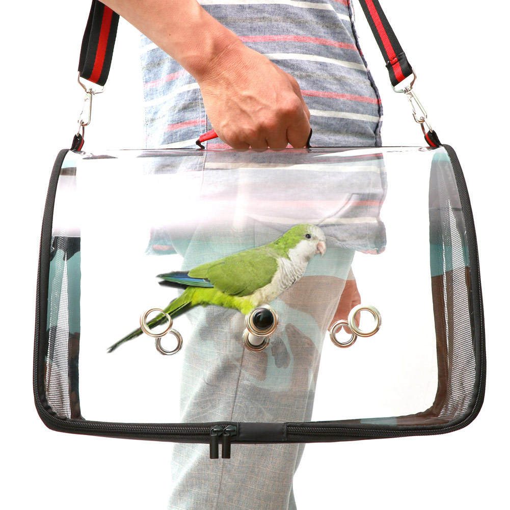 Portable Clear Bird Cage Lightweight PVC Breathable Bird Parrots Cage Airy Travel Bag Easy Cleaning