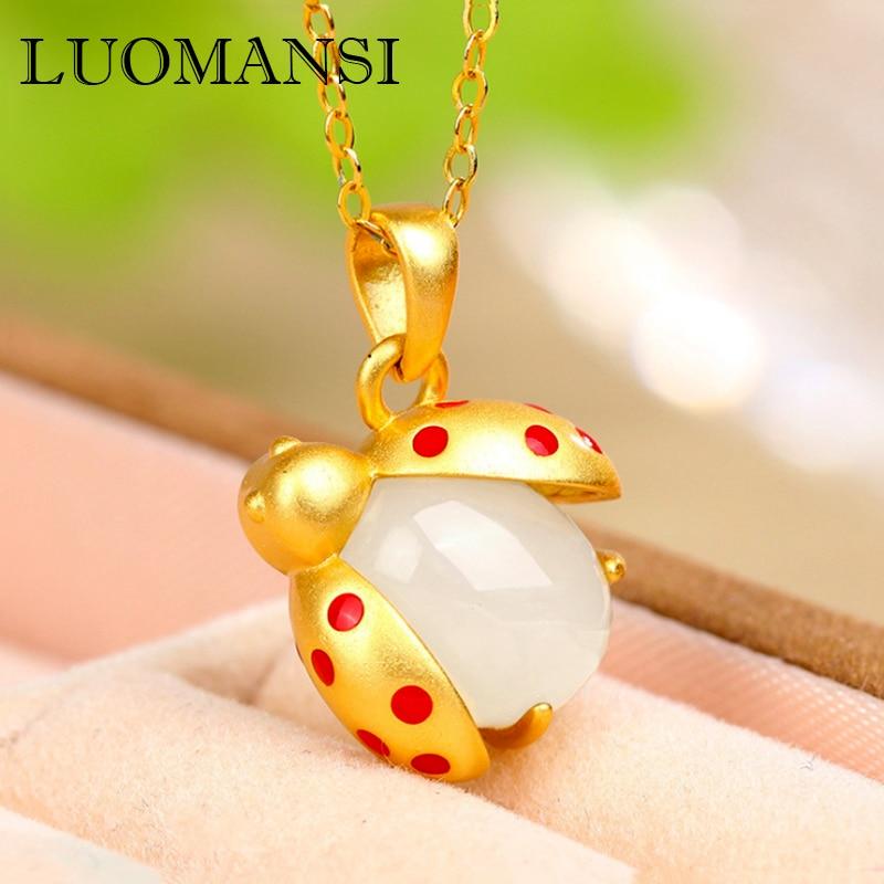 Luomansi joaninha pingente colar real hetian jade jóias s925 prata pedra preciosa colar senhoras moda acessórios