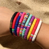 summer colorful polymer clay bohemian bangles elastic hand chain 6mm soft pottery beach bracelets female jewelry for women