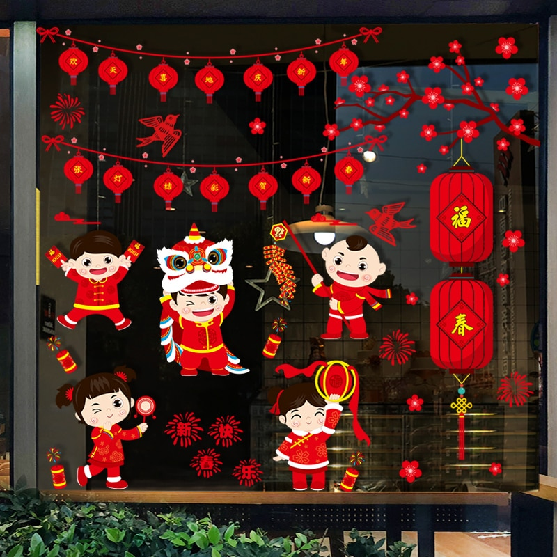 2021 Chinese New Year New Year Decoration Window Glass Sticker Self-adhesive New Year Picture Spring Festival Supplies