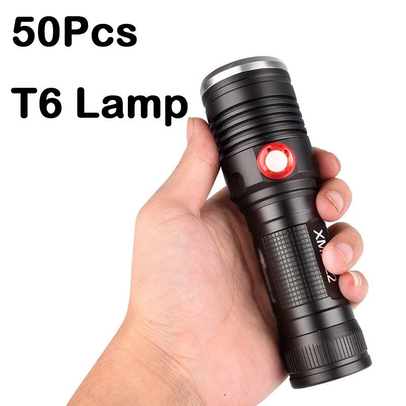 VIP من 50 قطعة T6 مصباح يدوي بدون بطارية