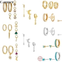 canner 3pcsset 925 sterling silver small hoop earring simple round circle zircon crystal star moon earrings for women jewelry