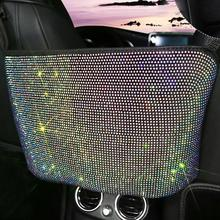 Seat Back Organizer Luxurious Rhinestone Flannel Backseat Holding Container for Handbag Car Storage