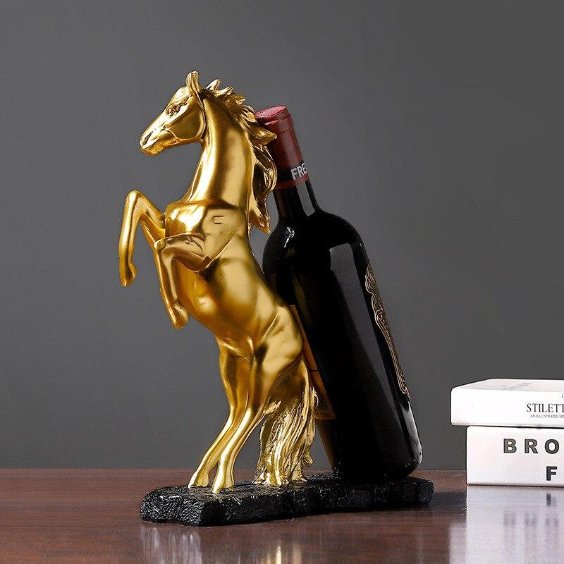الحصان على شكل منحوتات زجاجة نبيذ حامل الذهب قسط الراتنج تصميم قوي المنحوتات النبيذ الرف المطبخ الديكور Hogard