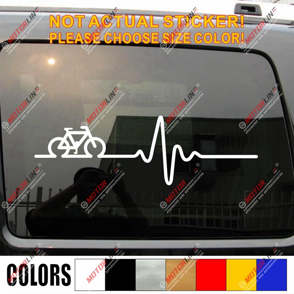 Pegatina de bicicleta divertida para ciclismo, bicicleta con pegatina de latido del corazón, EKG, para carreras de coches de vinilo