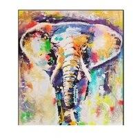 Personnalite moderne peinture en aerosol Animal menage ornement photo peinture a lhuile couleur lelephant mode decorations pour la maison