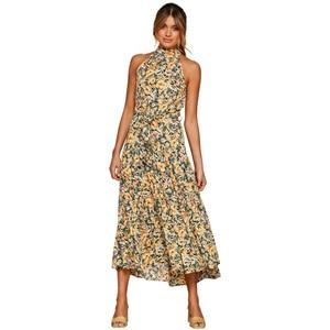Summer Women Bohemian Neck-mounted Polka Dot Print Dress High Waist Bandage Sleeveless Bohemian Ladies Beach Holiday Dresses