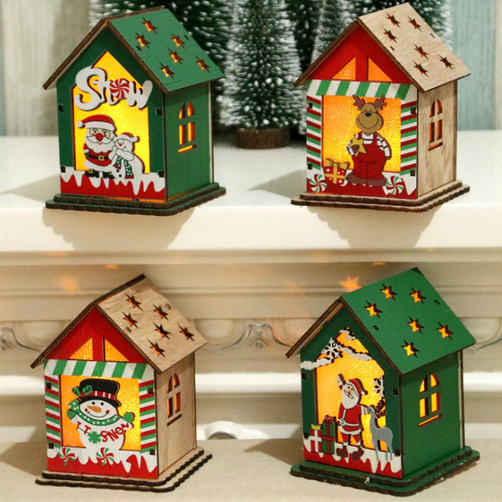 2020 Año Nuevo Led Luz de madera Casa de pueblo árbol de Navidad colgante adornos casa Navidad Santa Claus muñeco de nieve decoración colgante