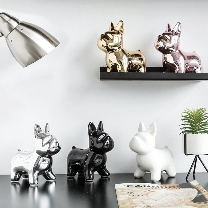 Nordic Ceramics Bulldog Piggy bank Creative Decoration Cute Animal Bedroom Living room Desktop Adornment Crafts Gift 5 colour