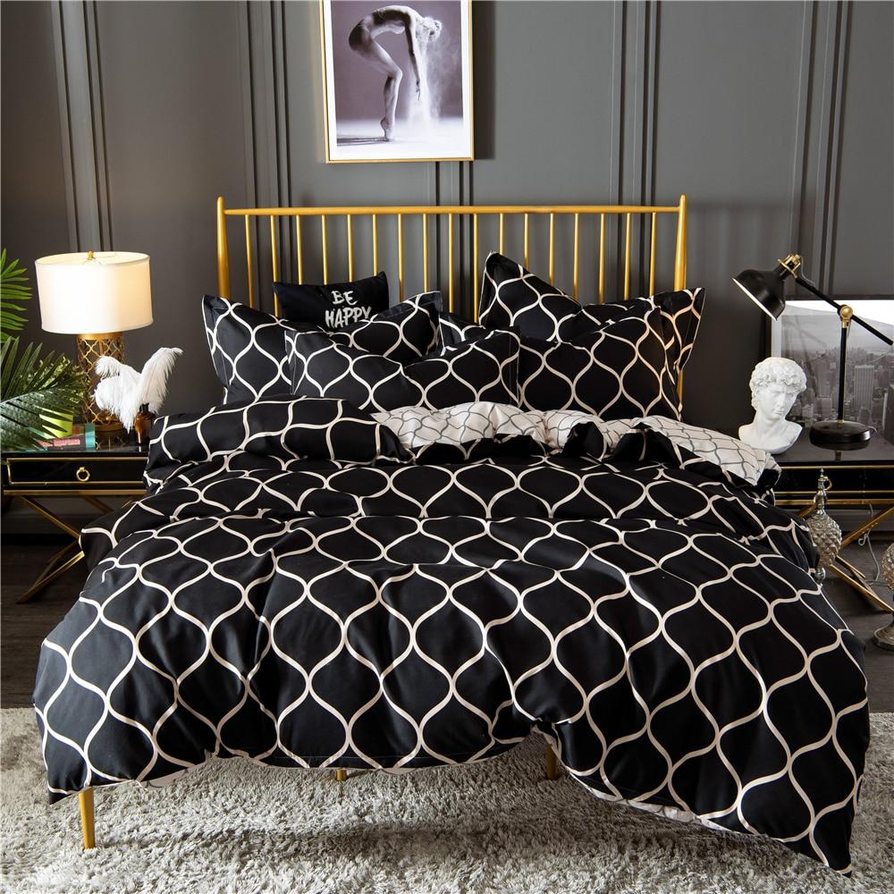 Fashion Adults Bed Linens Set US Twin Home Decorative Bed Grid Printed Lattice Bedding Set Black Duvet Cover Set
