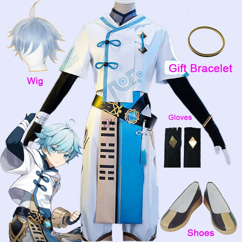 game genshin impact albedo cosplay costume carnival halloween performance outfit props men suit genshin impact costumes Anime Genshin Impact Cosplay Chongyun Cosplay Costume Game Genshin Impact Chong Yun Costume Halloween Party Outfit And Wig