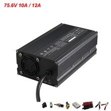 Chargeur li-ion 900W 75.6V 10A 12A utilisé pour chargeur de batterie de vélo électrique au Lithium 64.8V 66.6V 18S avec ventilateur