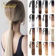 Saisity 22Inches Long Straight Wrap Around Clip In Ponytail Hair Extension Heat Resistant Synthetic Pony Tail Fake Hair