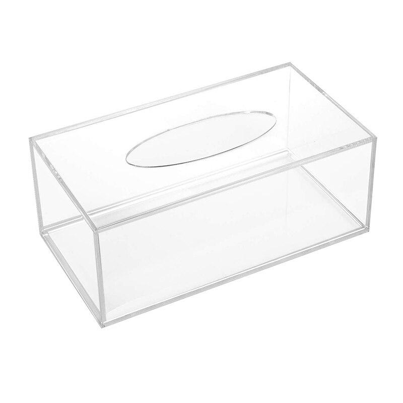 Caja dispensadora de pañuelos faciales, caja organizadora de servilletas rectangulares transparentes para baño, cocina y oficina