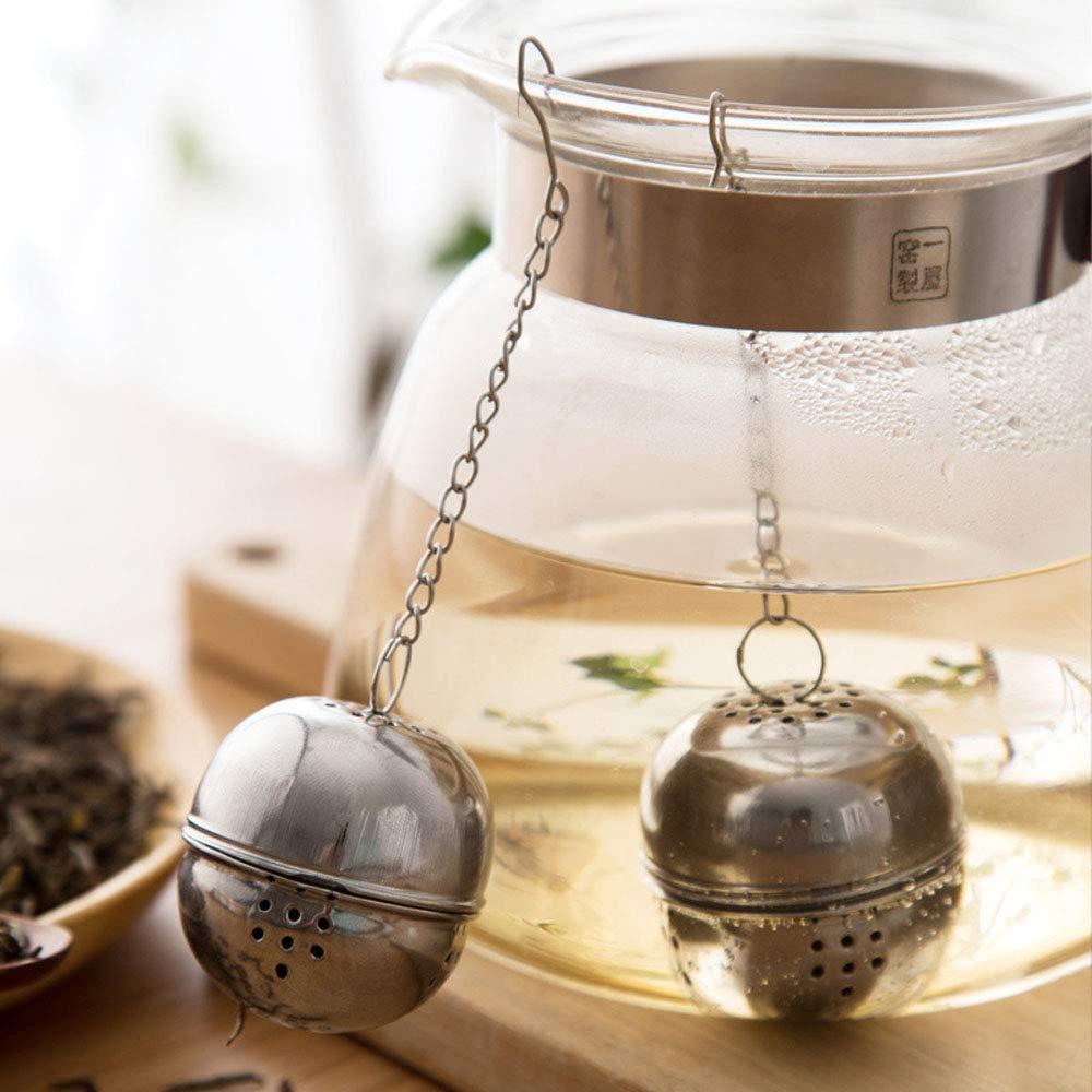 Infusor de té de acero inoxidable plateado, colador, bloqueo de té, especia, bola en forma de huevo