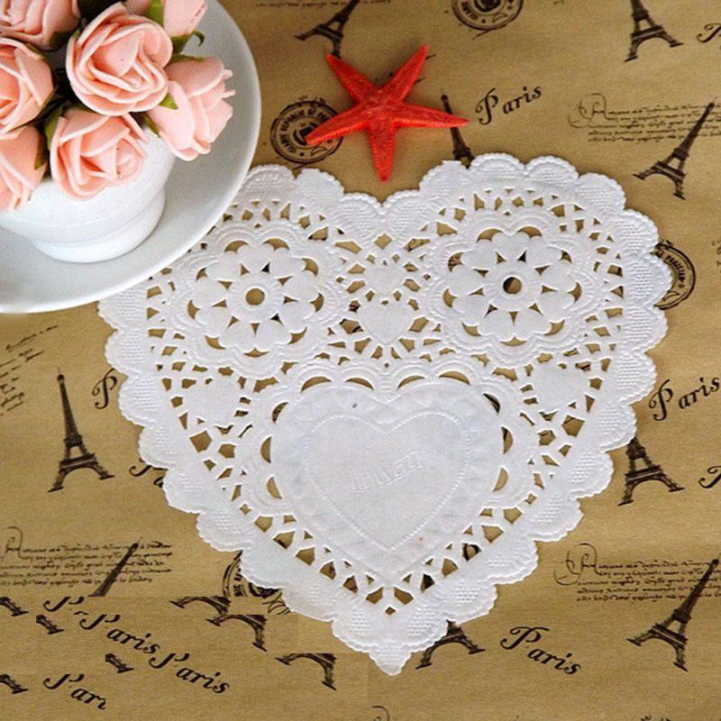 Nouveau 100 pièces/ensemble de gâteaux 10 pouces   Sous-verre en forme de cœur serviette de table, napperon, tapis de cuisson absorbant lhuile, bricolage fond de Photo