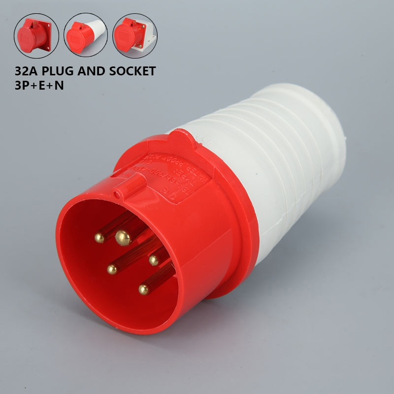 Conector hembra macho a prueba de agua enchufe Industrial conexión eléctrica 32A 5 pines 220V-415V 3P + E + N IP44