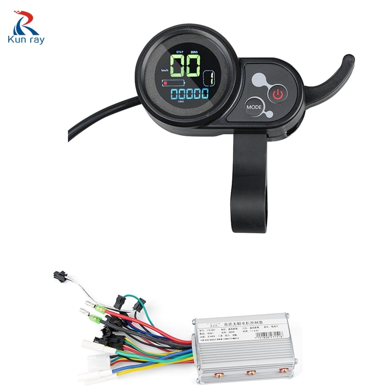 Electric Scooter Controller With Display Thumb Throttle 24V-48V 250W-350W BLDC Controller Electric Scooter E Bike Accessory 15A
