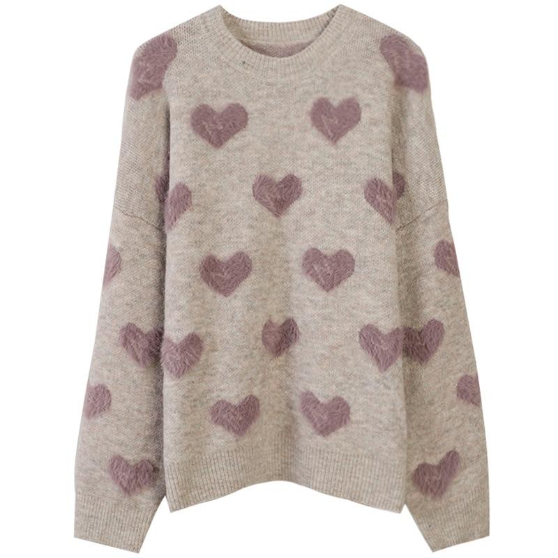 HLBCBG Heart Pattern Knit Pullover Sweater Women Jumper 2020 Winter Korean Kawaii Cute Long Sleeve Fluffy Sweater Female wave pattern open knit jumper