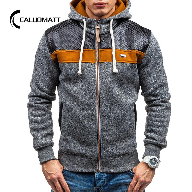 Mode automne hiver à capuche épissé veste hommes décontractée sweat à capuche en coton sweats 2021 hommes Cardigan polaire fermeture éclair manteau dextérieur