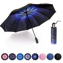 Parapluie automatique pliant inversé à lenvers soleil pluie femmes parapluie 10 côtes forte coupe-vent femmes parapluies