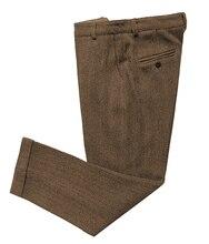 Pantalon décontracté pour hommes pantalon à motif à chevrons coupe ajustée en laine Tweed costumes pantalon avec taille extensible cachée pour la fête de mariage,