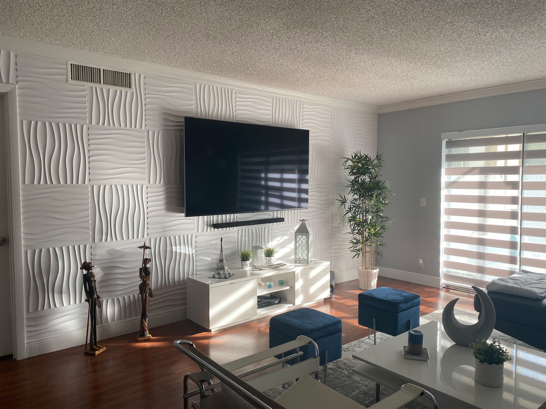 50x50 سنتيمتر البلاستيك الأبيض الزخرفية ثلاثية الأبعاد لوحات الحائط موجة جدار تصميم لغرفة المعيشة غرفة نوم التلفزيون خلفية حزمة من 12 البلاط