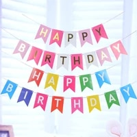 luanqi 1pc happy birthday letter banner rose gold blue paper bronzing baby birthday fishtail paper pull flag party decorations