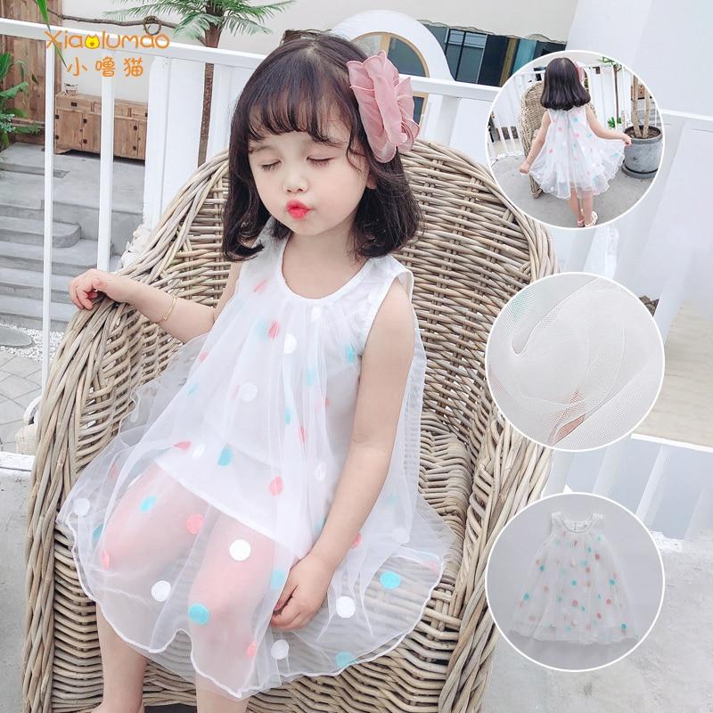 2020 Girls Dot Embroidered Yarn  Summer New white Korean Sleeveless Dress Foreign Princess Dress Childrens Tide XIAO LU MAO