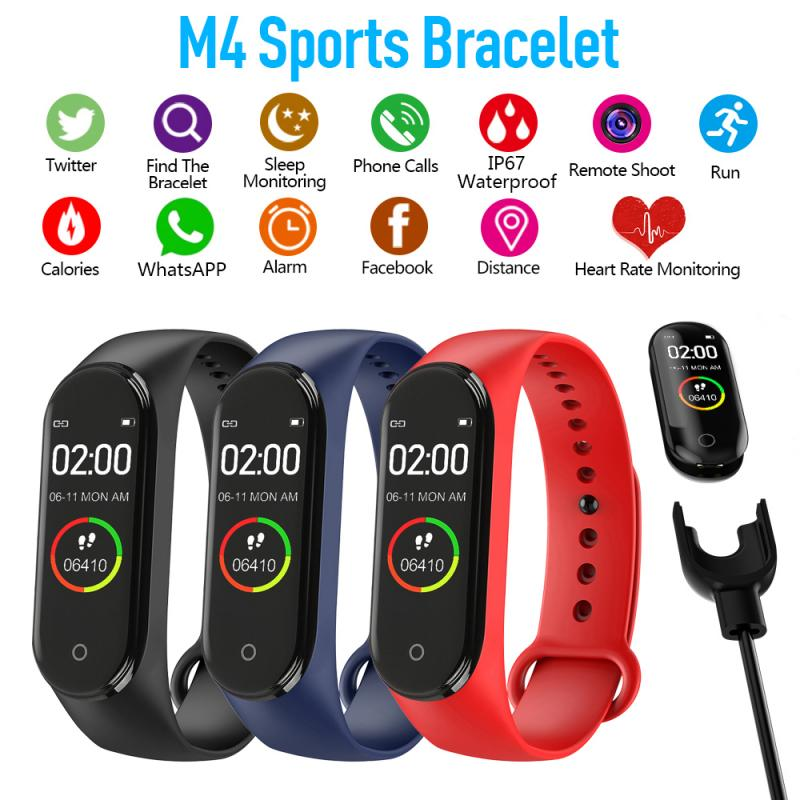 M4 Smart Watch Wristband Blood Pressure Heart Rate Monitor Pedometer Waterproof Sports Men Women Bracelet For Android IOS