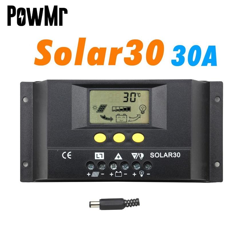 PWM تحكم الشمسية 30A 12 فولت 24 فولت السيارات شاشة الكريستال السائل ل ماكس 360 واط و 720 واط لوحة الشمسية مع مصباح درجة الحرارة سينور و صندوق مؤقت للاس...