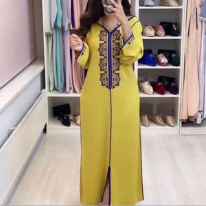 Long Women Dress Dubai Abaya 2021 Summer Oversized Casual Hooded Print Muslim Long Sleeves Robe Maxi Dresses Vestiods Yellow