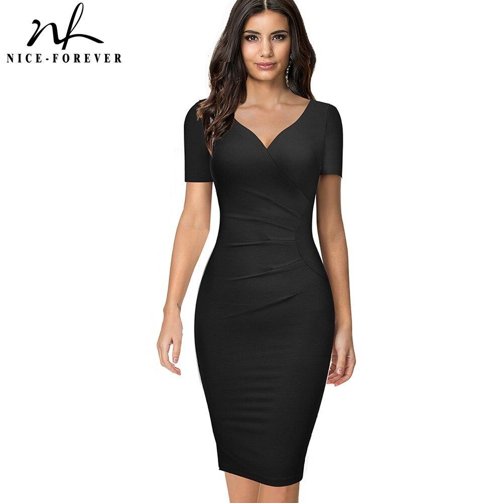 Женское облегающее платье Nice-forever, летнее однотонное платье для офиса и вечерние, модель B621