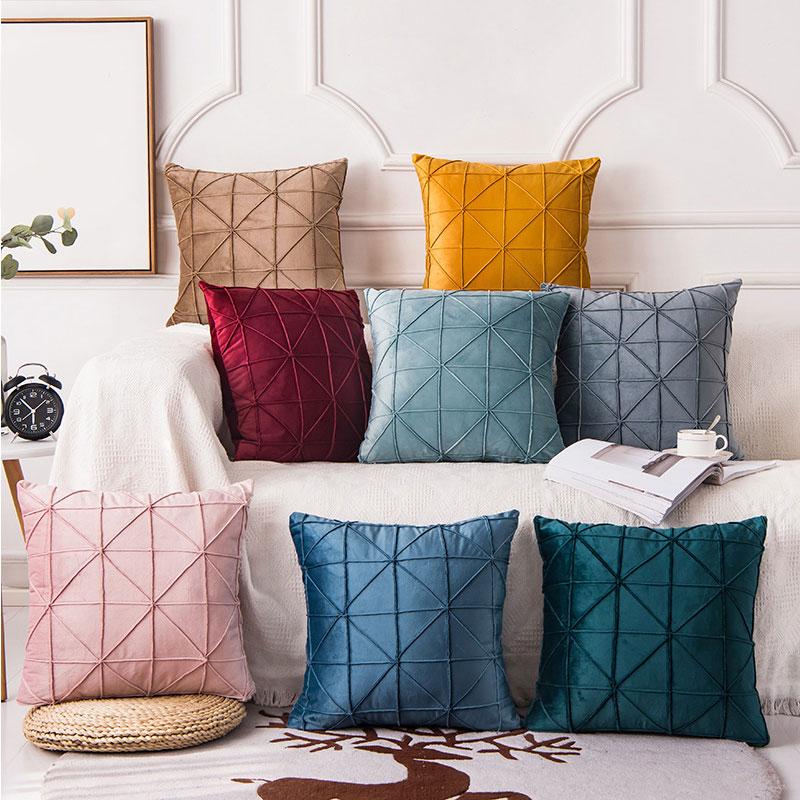 Однотонная голландская плюшевая наволочка на талию, декоративные подушки, чехол для подушки, квадратные геометрические Повседневные Класс...