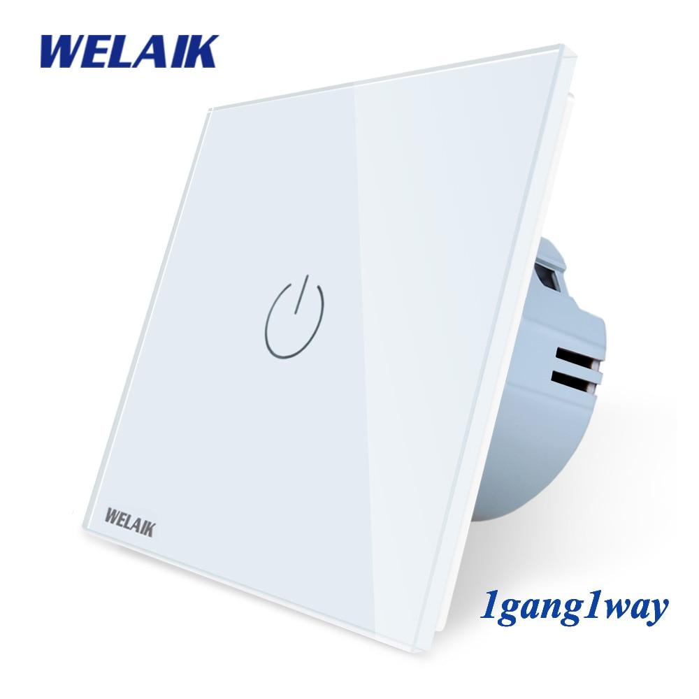Welaik новый кристалл Стекло Панель настенный выключатель ЕС сенсорный выключатель Экран настенный выключатель света 1Gang1Way светодиодные лампы a1911cw /b