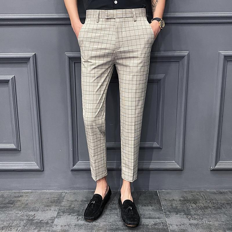 2021 тонкие клетчатые Костюмные брюки в мелкую клетку, мужские летние молодежные модные деловые повседневные брюки в Корейском стиле