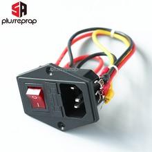 15A 250В выключатель питания AC 3pin Разъем питания с красным тройным клавишным переключателем штатив ноги меди с предохранителем для 3D принтера