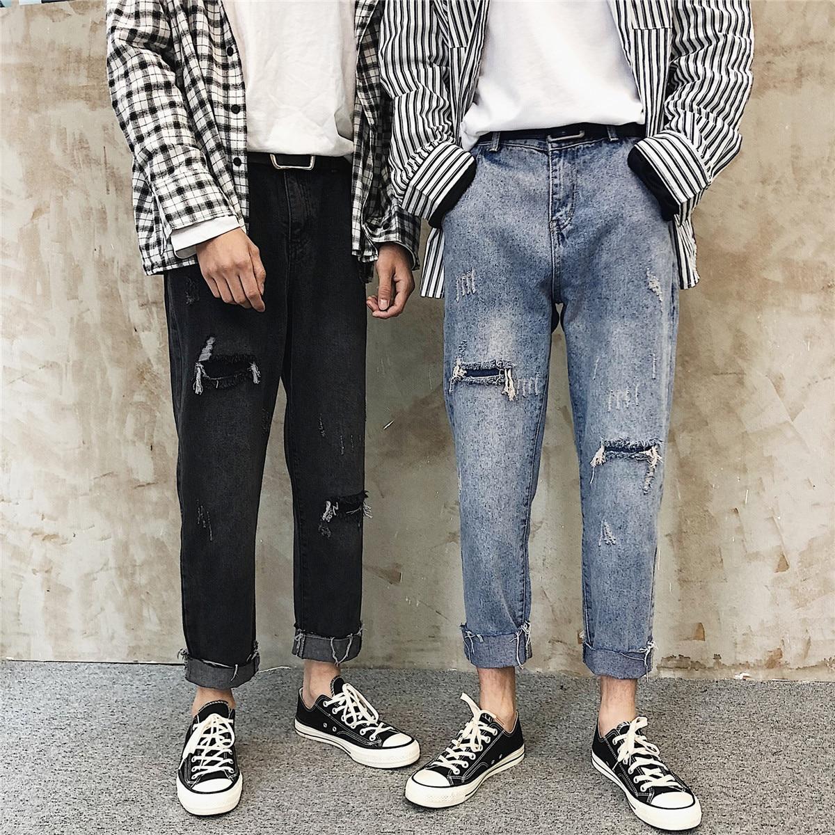 Otoño estilo de Hong Kong ins tobillo-longitud pantalones para hombres estilo coreano suelta pierna recta pierna ancha daddy pantalones moda Sentido de