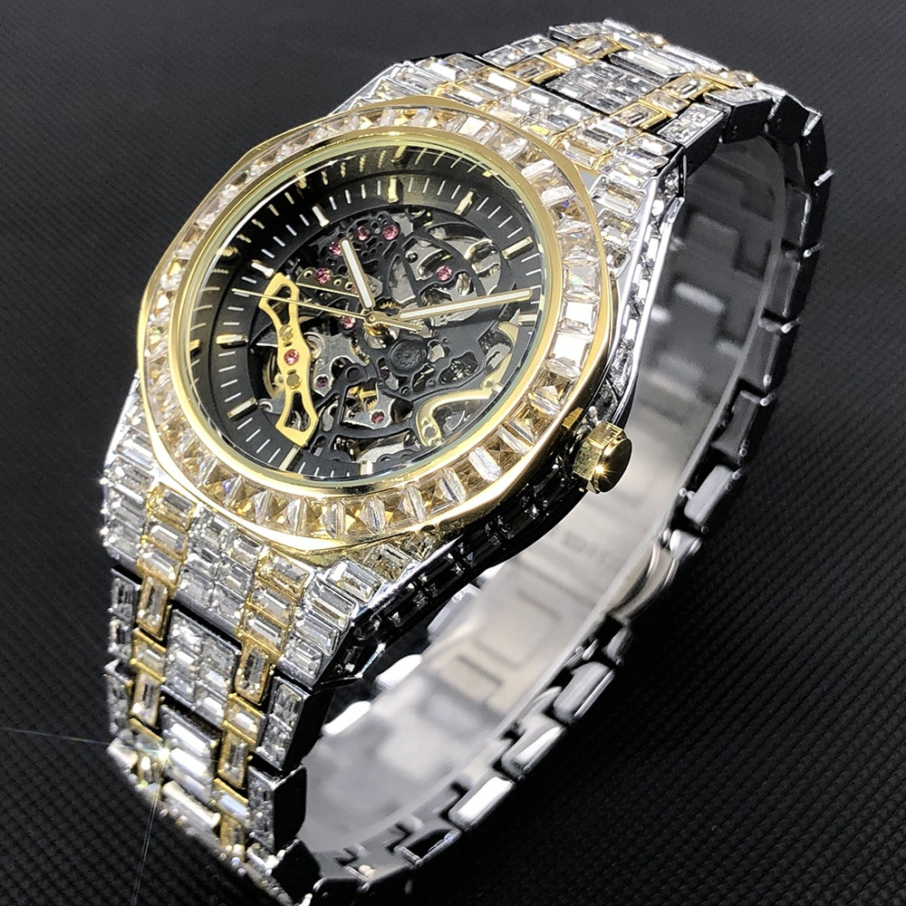 MISSFOX Hip Hop Mechanical Mens Watches Luxury Iced Out Stainless Steel Automatic Wristwatch For Men Jewelry Relógio masculino enlarge