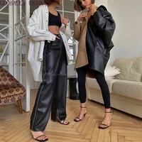 cryptographic fashion gothic black pu leather wide leg pants women trousers streetwear bottom casual punk pants outfits
