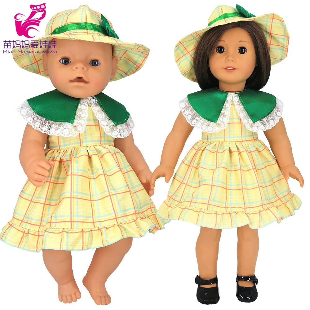 платье модель туника детское barkito желтые цветы желтое с белой отделкой Детское платье с воротником в виде листьев лотоса, Одежда для кукол для девочек 18 дюймов, желтое летнее платье с шапочкой