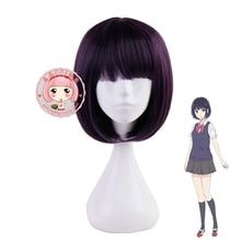 Perruque de Cosplay danime Kuzu No Honkai Yasuraoka Hanabi perruque de Cosplay bande dessinée Con fille Yasuraoka Hanabi perruque de cheveux violet foncé Lolita perruque