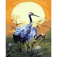 diamond painting diy oil painting living room animal hand painted color oil painting decorative painting red crowned crane