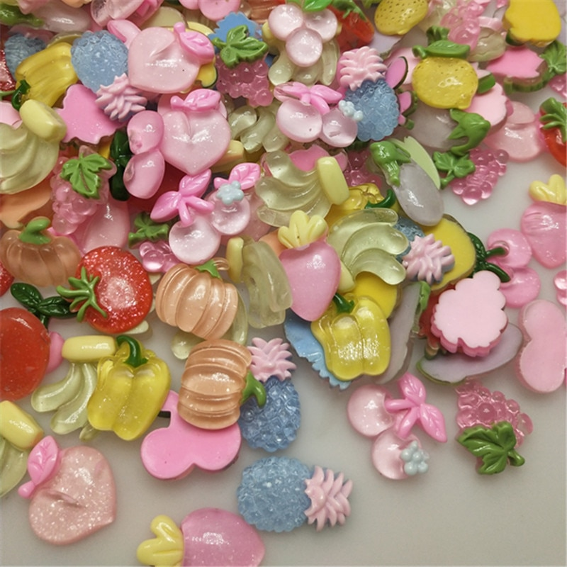 50 unids/pack al azar verduras de frutas serie Flatback resina niña horquilla de joyería accesorios de acrílico DIY accesorios para el cabello