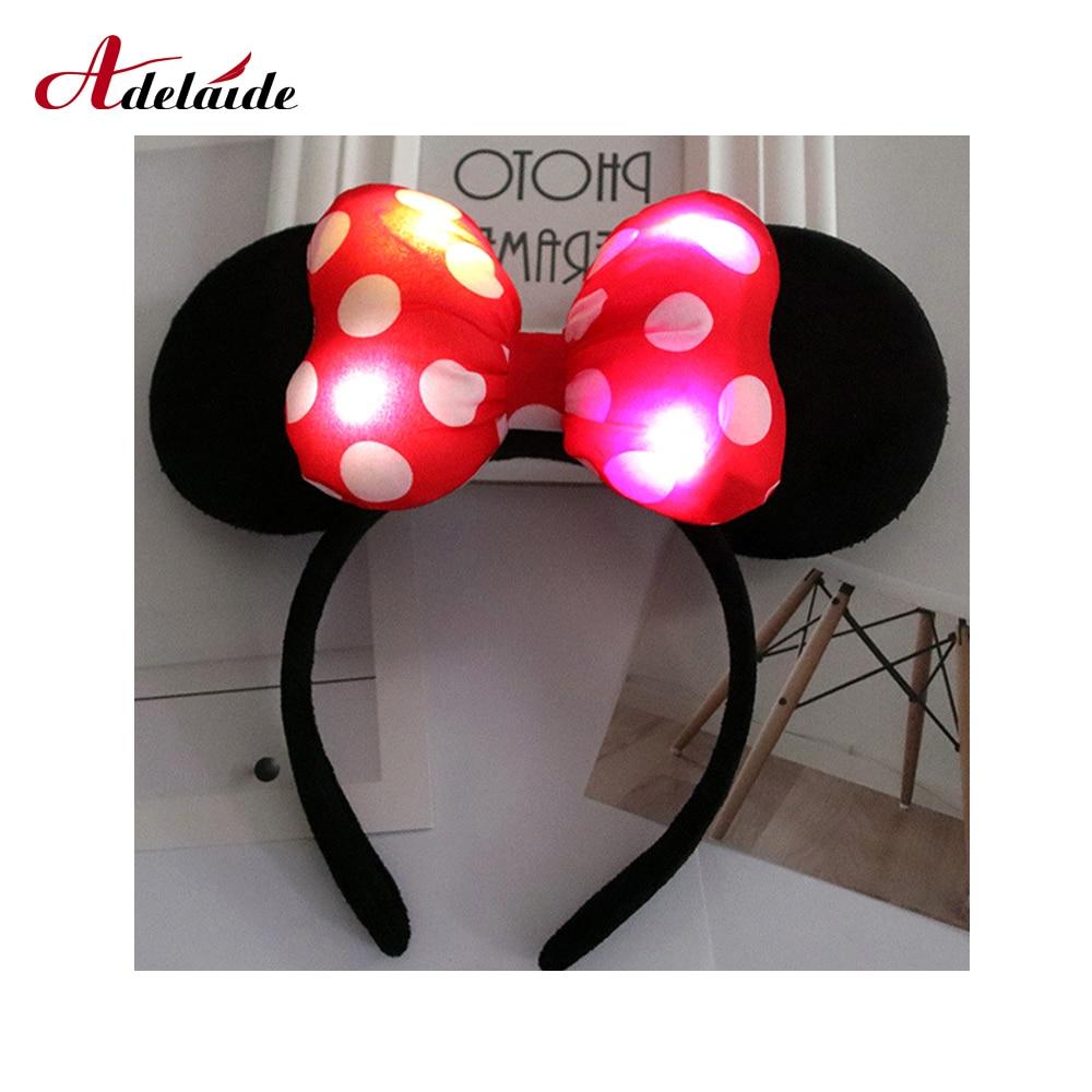 1PC LED headband Minnie Bows Ears luminous accessories flash children lights hair colorful toys