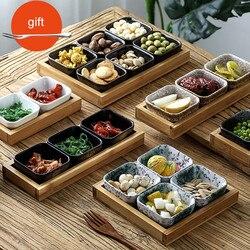 Placas de Frutas De Cerâmica com Bandeja De Bambu do Estilo de japão Home Sobremesas/Placas de Nozes Lanches Criativos Pratos Molho Prato