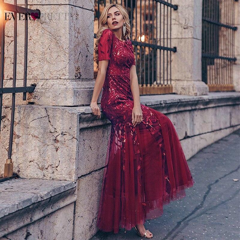 Evening Dresses 2021 Ever Pretty Mermaid O Neck Short Sleeve Lace Appliques Tulle Vestidos Formales Party Gown Robe De Soirée De