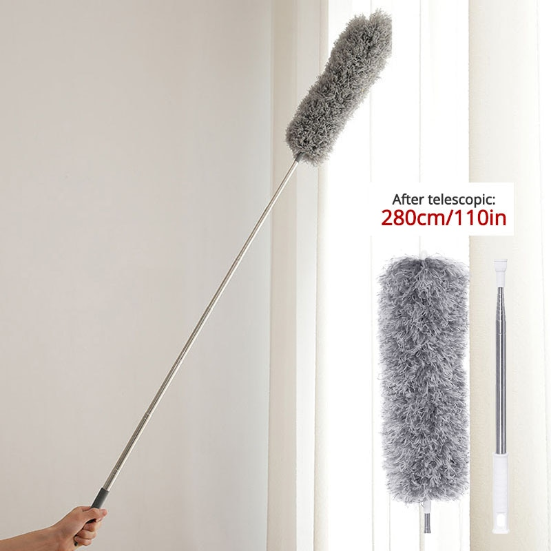 triangle dust removal mop stainless steel lengthen retractable dust brush sweeping wall Retractable Dust Duster Ultra-Long 0.8-2.8m Microfiber Brush Household Stainless Steel Arbitrary Bending Gap Cleaning Tool